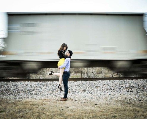 Engagement Pictures with train
